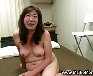 Horny japanese mummy gets fingered and loves it