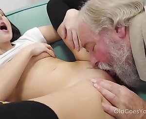 Old Goes Young - Talented cutie rails old dick in cowgirl style