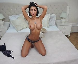 Anisyia shows her perfect body and plays with big dildo