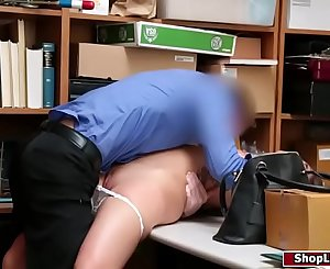 Hot shoplifter compelled to fuck officer