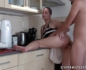 Naughty Step Mom Fucks Step Son In The Kitchen