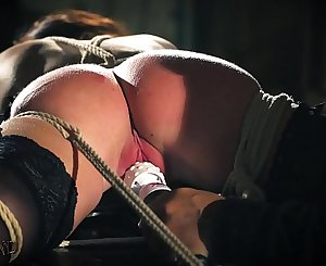 Teen sex slave is tied up and fucked while getting spanking and slapping