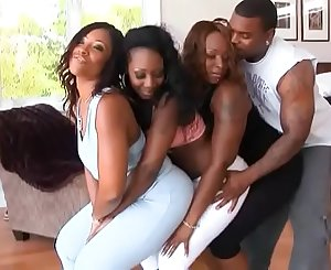 Black stunner with big phat ass rails throbbing cock in an orgy